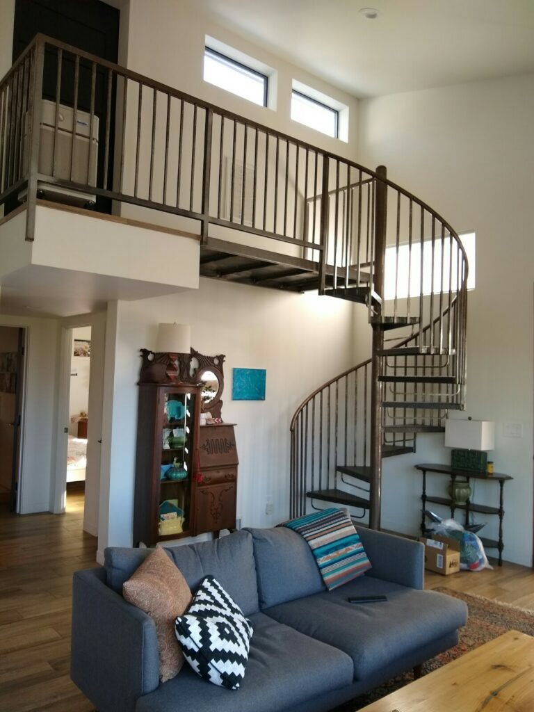 Winding stairs to second floor